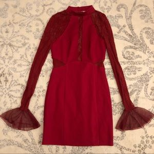 Free People Red Lace Bodycon Dress NWOT